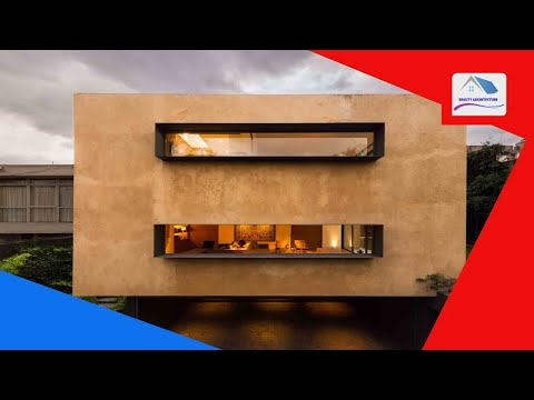 Andres Stebelski elevates boxy clay-covered house above parking spot in Mexico - Beauty Architecture