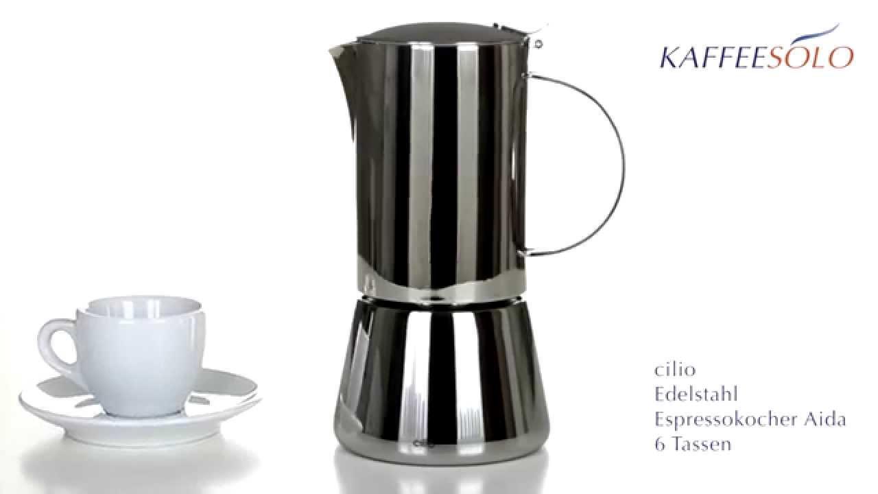 cilio edelstahl espressokocher aida 6 tassen youtube. Black Bedroom Furniture Sets. Home Design Ideas