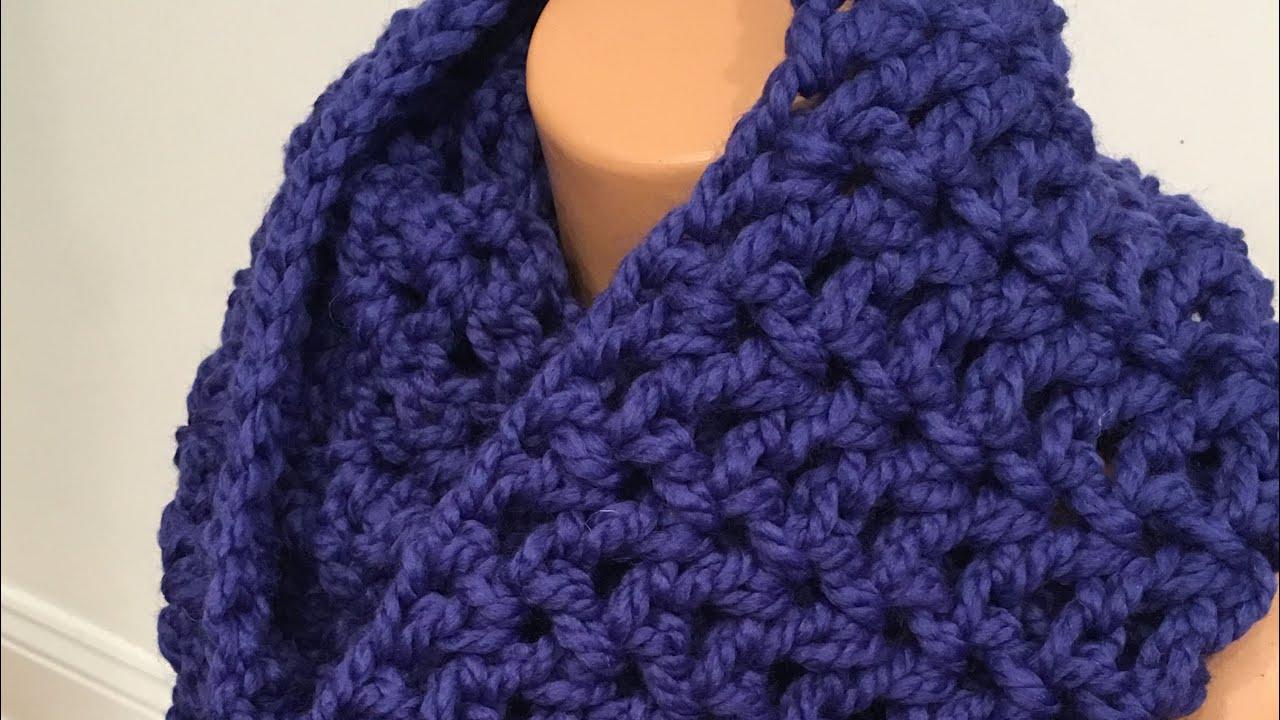 Easy Crochet Infinity Scarf Using V Stitch Youtube