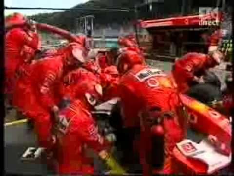 A1 Ring 2003 - Michael Schumacher - pit stop - fire - YouTube
