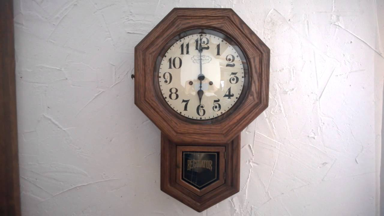 Vintage new england regulator wall clock youtube vintage new england regulator wall clock amipublicfo Image collections