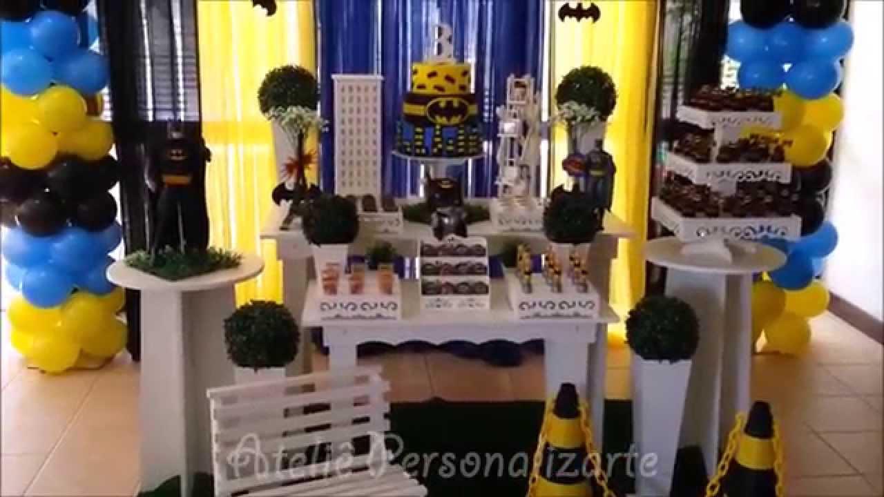 Decoraç u00e3o de festa infantil Batman YouTube -> Decoração De Aniversario Infantil Com Tnt