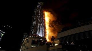 Massive Fire Breaks Out Near Burj Khalifa During Dubai New Year's Fireworks Display