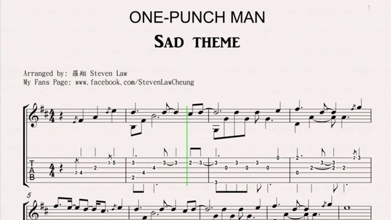 One Punch Man Sad Theme Fingerstyle Guitar Tab Youtube