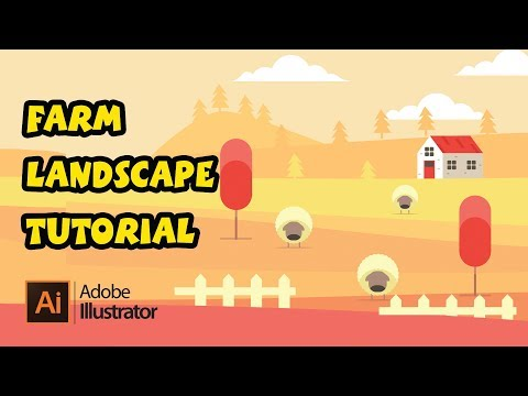 How to Make a Beautiful Farm Landscape Background Design in Illustrator Tutorial thumbnail