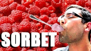 Making Raspberry Sorbet
