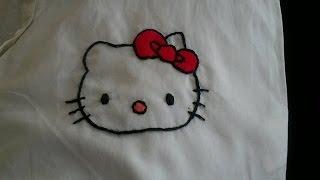Repeat youtube video تعلم طرز باليد|الدرس الرابع|طرزشخصية كرتونية_:Hand Embroidery Hello Kitty (easy)