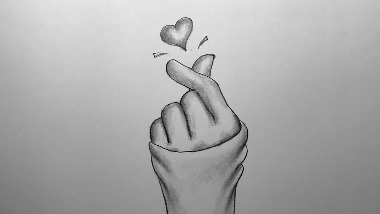 how to draw korean heart kore parmak kalp hareketi el cizimi