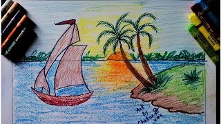 How to draw scenery of island with water colour step by step for kids