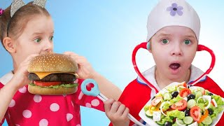 Pretend Playing School and Eat not Healthy food by Nicole. Healthy eating habits for kids