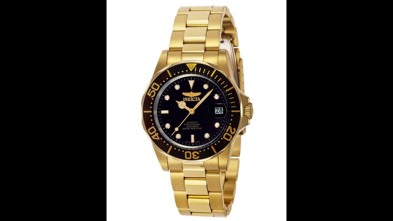 601239ae7 Invicta 8929 Men's Pro Diver Gold Tone Automatic Black Dial Dive Watch  Review Video