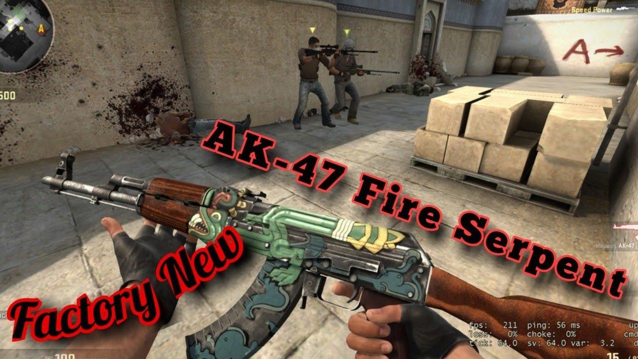 csgo ak 47 fire serpent factory new gameplay youtube