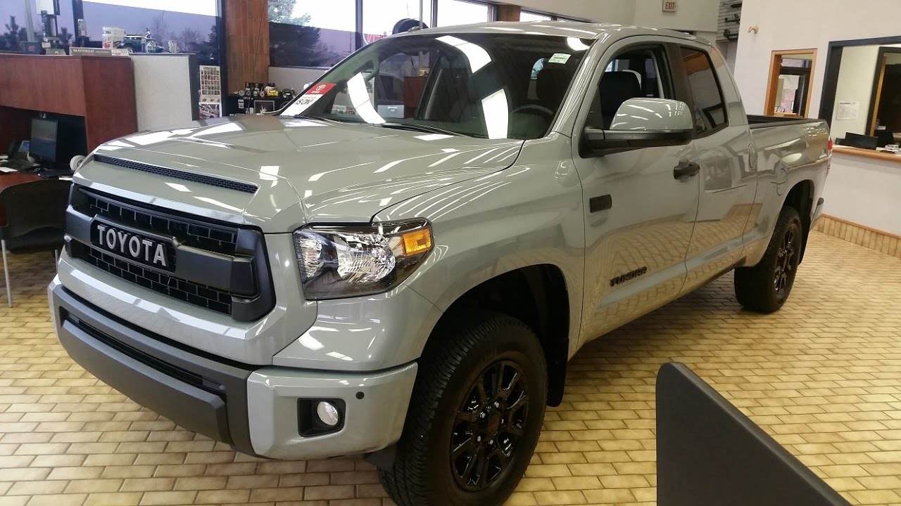 2017 toyota tundra trd pro double cab in cement grey full feature review youtube. Black Bedroom Furniture Sets. Home Design Ideas