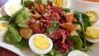 Spinach Salad With Bacon, Egg & Rosemary Potatoes
