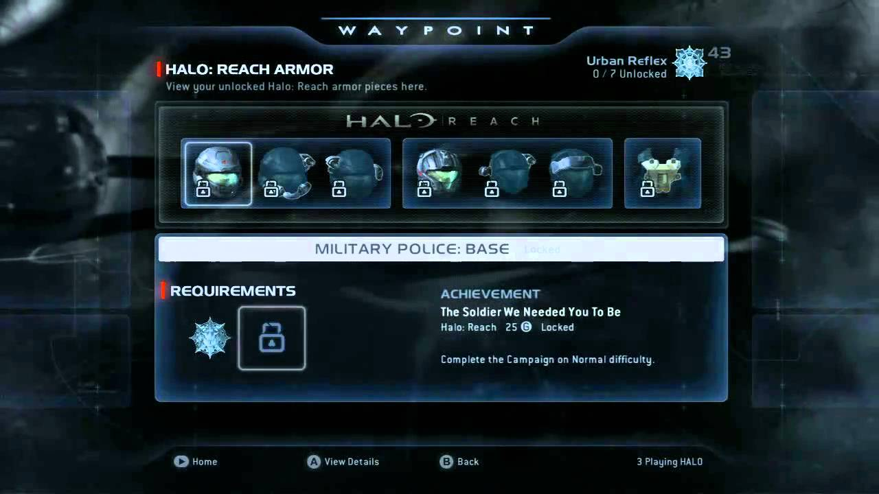 Halo Waypoint Reach Armour Unlocks