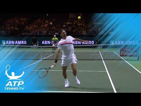 Roger Federer outrageous overhead shot!   Rotterdam 2018