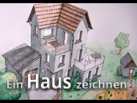 Ein Haus Zeichnen   Aquarell Colorierung Farbe [Haus #02]