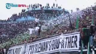 Koreografi Brigata Curva Sud (BCS) Mengenang Alm Supardjiono saat Laga PSS Sleman vs Madiun Putra