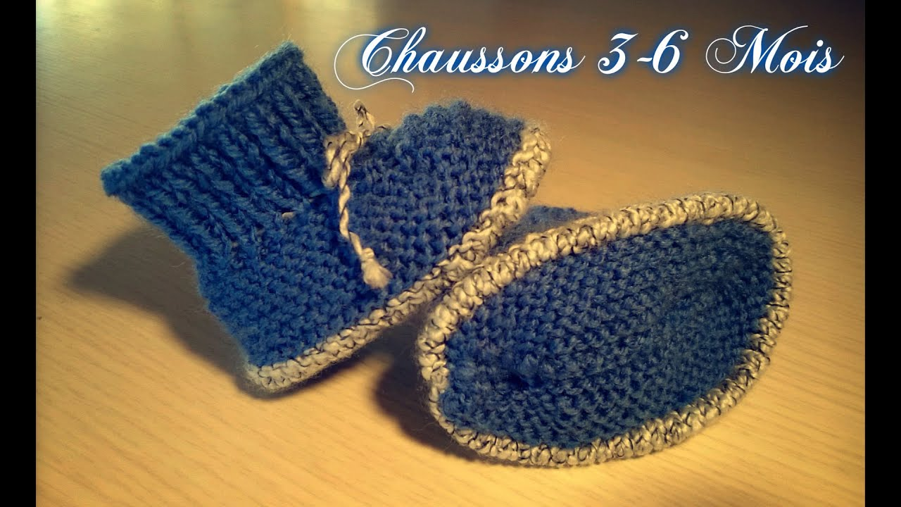 tuto tricot chaussons b b n 6 3 6 mois youtube. Black Bedroom Furniture Sets. Home Design Ideas