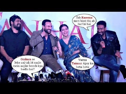 Kajol NAILED IT 🤣 Kajol & Ajay Devgn's Back To Back Funny Moments Wid Saif @Tanhaji Delhi Promotion