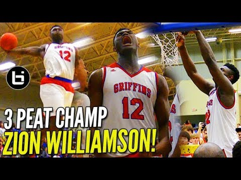 3 PEAT! Zion Williamson SLAMS IT HOME in LAST HS GAME!