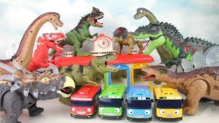 Tayo in Dangers. Dinosaur Toy Vs. Dinosaur Toy! Go Walking Dinosaurs keep Tayo Garage -colormonsters