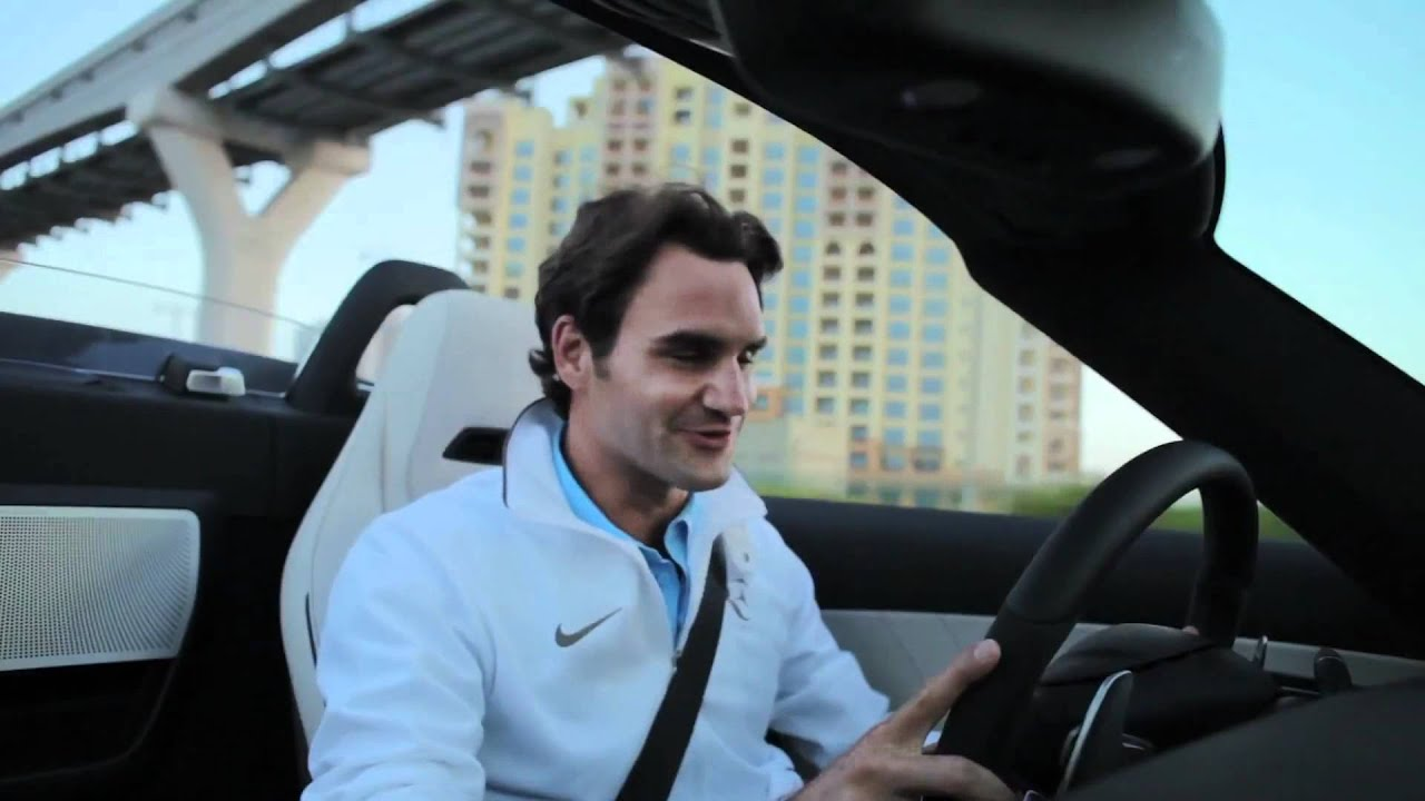 Roger Federer drives the Mercedes-Benz SLS AMG Roadster ...