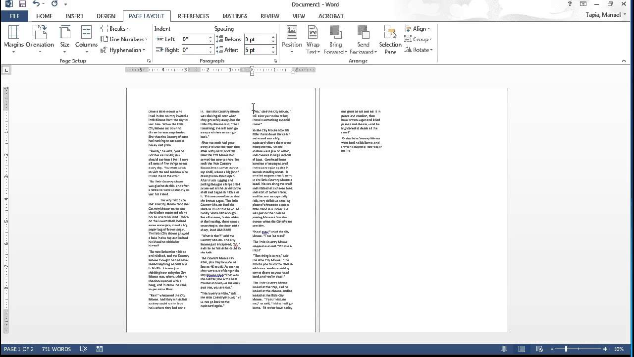 MS Word Page Layout Tab