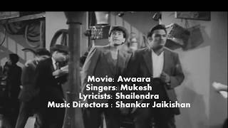 Awaara Hoon  - with Lyrics - movie -Awaara - Raj Kapoor