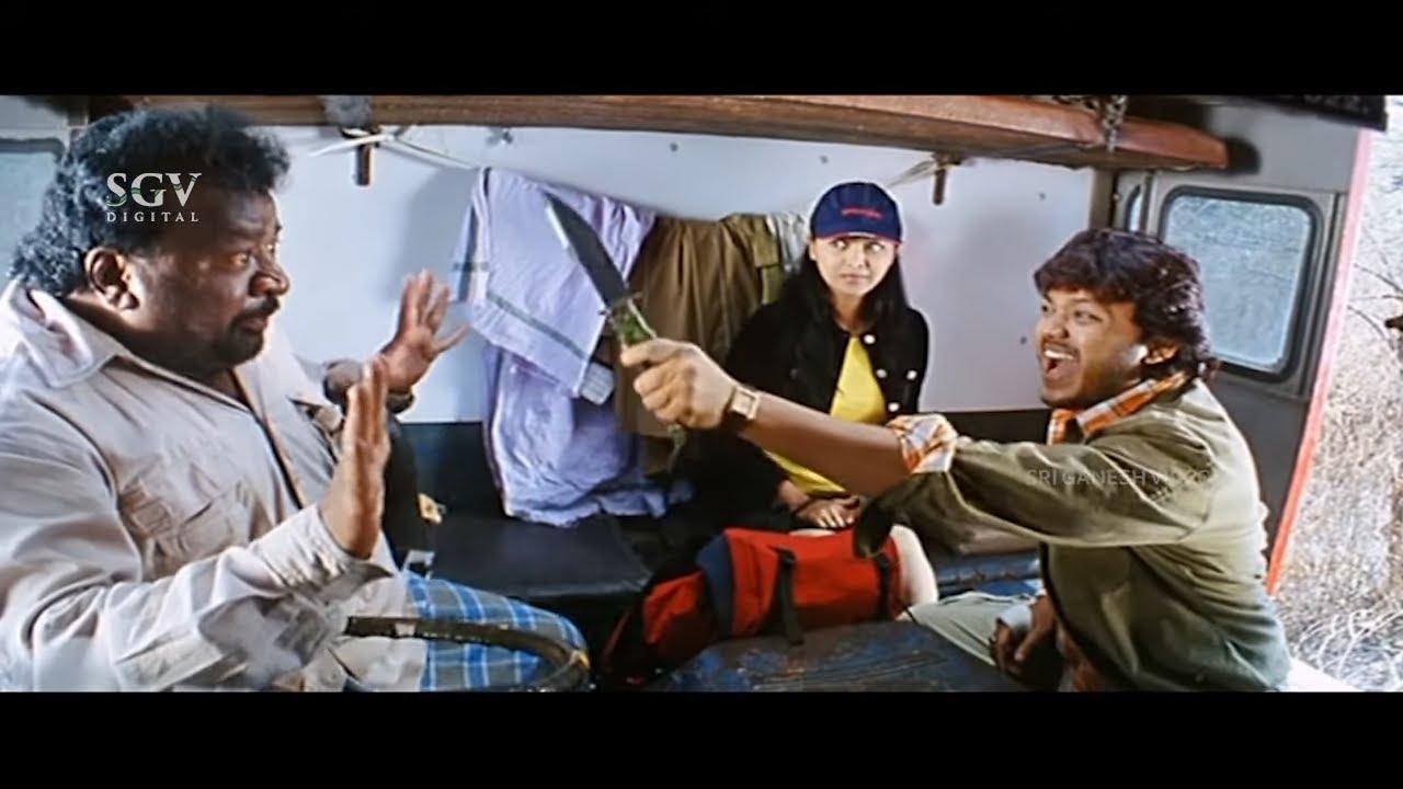Ganesh and Rekha Taking Lift Comedy Scenes | Hudugata Kannada Movie Part-4