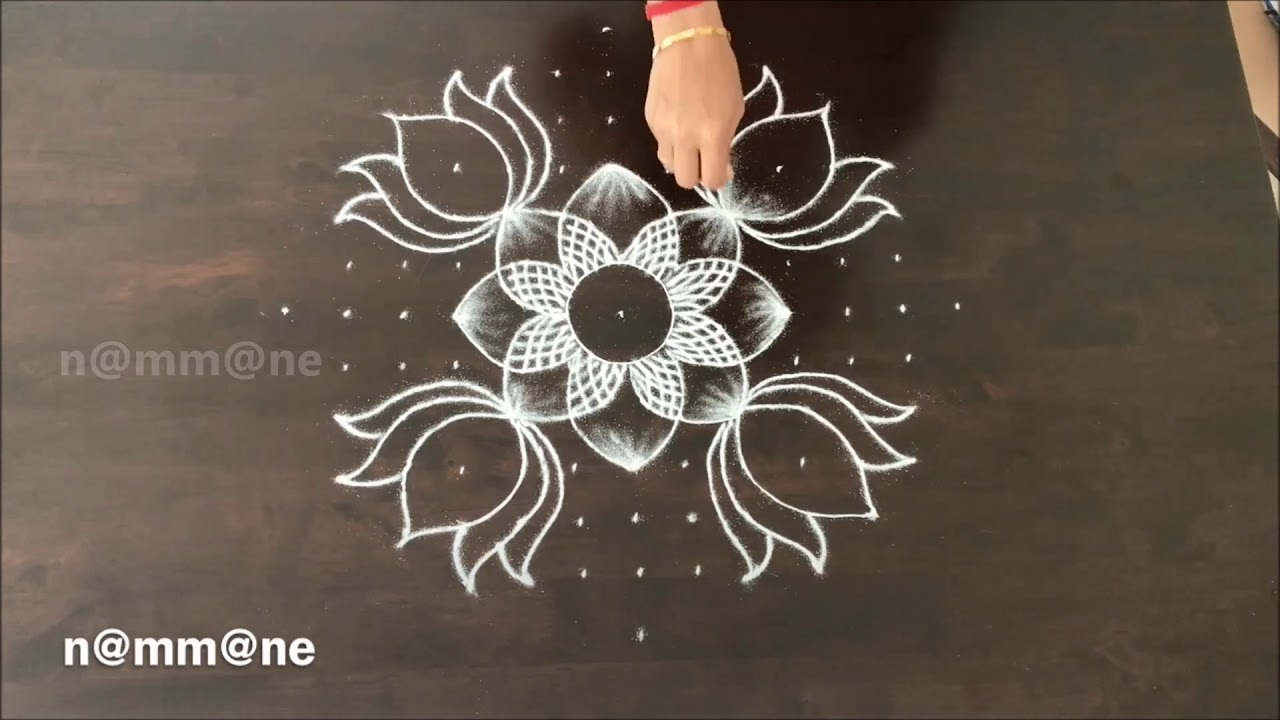 Beautiful Combination Of Om Swastik Deepam And Lotus Flower In One
