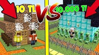 10 TL FAKİR GÜVENLİ EV VS 10.000 TL ZENGİN GÜVENLİ EV! 😱 - Minecraft