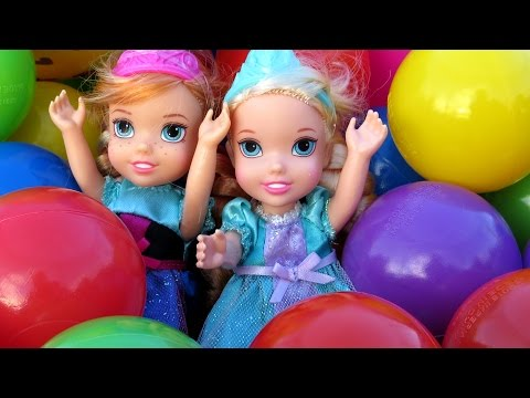 Thumbnail: Balls ! Trampoline ! Toddlers FALL ! Elsa & Anna & Barbie playing in Balls - Ride car - Ball Fight !