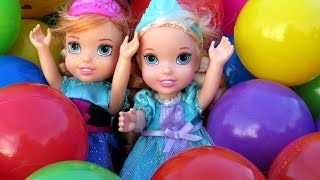 Balls ! Trampoline ! Toddlers FALL ! Elsa & Anna & Barbie playing in Balls - Ride car - Ball Fight !