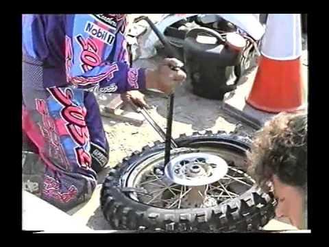 Geraint Jones changing a tyre  ISCA 1995