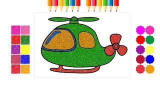 Glitter Helicopter coloring for children drawing cartoon learning colors #fortoddlers