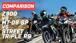 Kawasaki Z900 vs Triumph Street Triple RS vs Yamaha MT-09 SP | Visordown.com