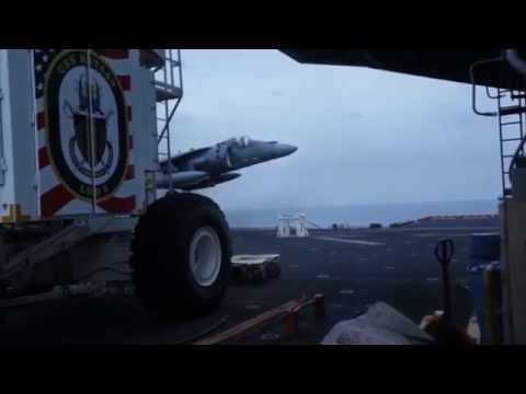 AV-8B no gear landing on USS Bataan