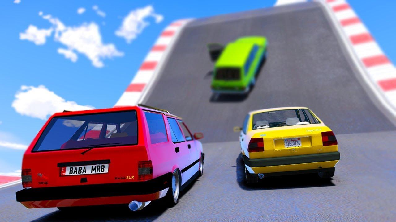Eski Güçlü Arabalar Zorlu Parkurda Yarışıyor - GTA 5