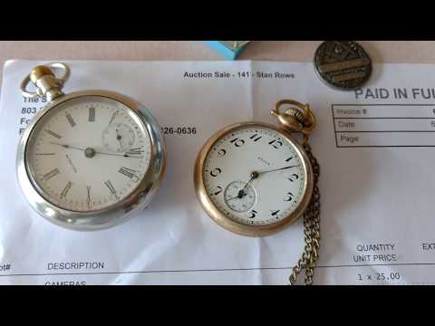 100 Subscribers!!!! Auction Day Pocket Watches Cameras and Gold Jewelry for $2!!!!