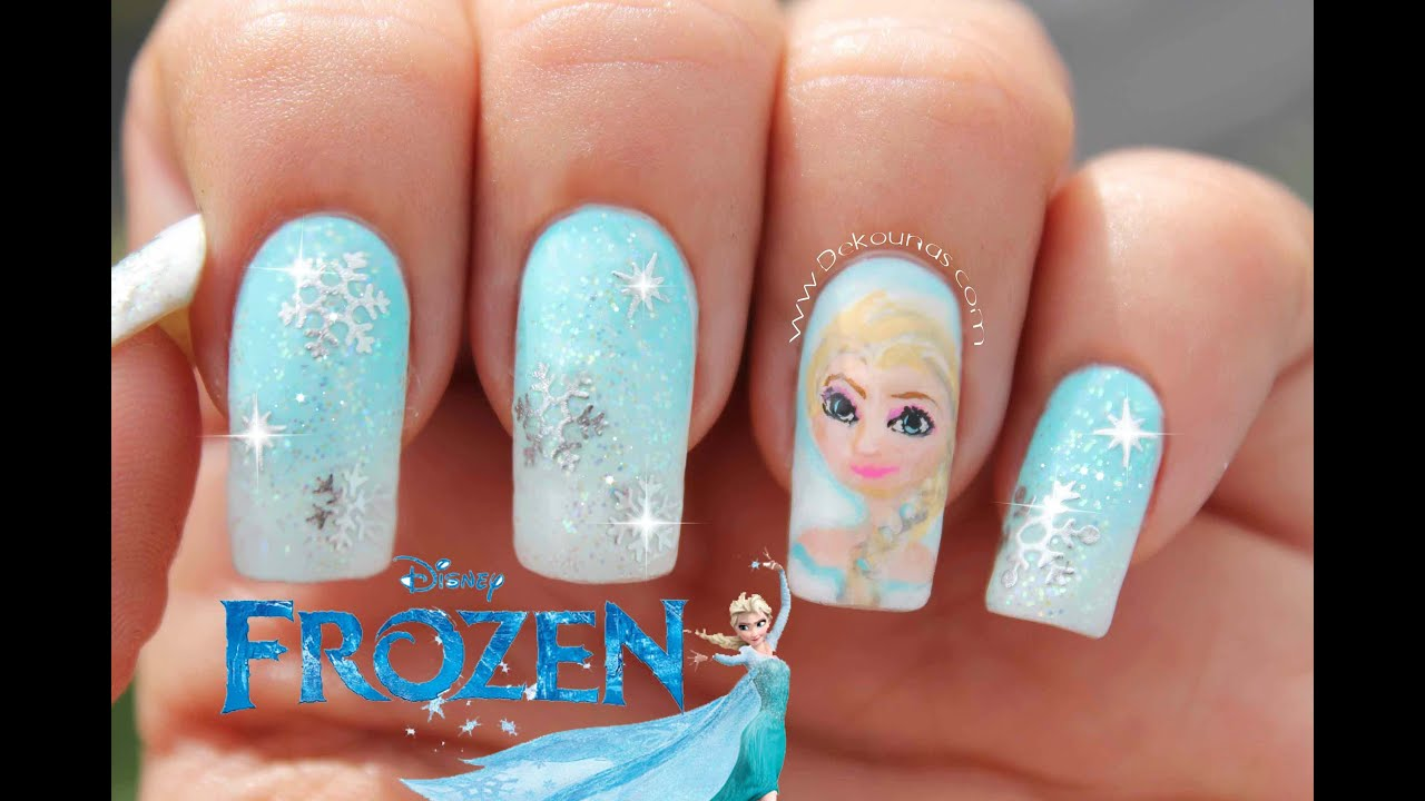 Decoraci n de u as frozen disney frozen nail art disney - Decoracion para las unas ...
