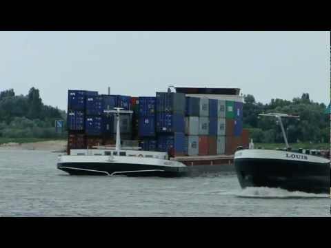 Netherlands: Commercial Shipping On The River Waal At Nijmegen