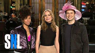 Taran Shows Brie Larson & Alicia Keys His Derby Hat - SNL