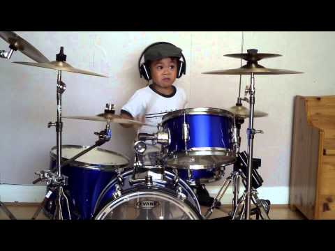 Bon Jovi - You Give Love A Bad Name drum cover, 4-Year-Old Drummer
