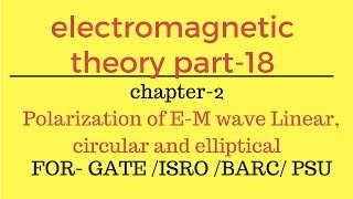 Polarization of E-M wave Linear ,circular and elliptical electromagnetic theory part-18   for gate