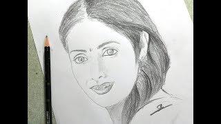 Drawing Sridevi Pencil Sketch