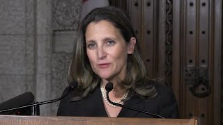The foreign affairs minister says it was vital that she use only Canadian sources in her foreign policy speech Tuesday. Chrystia Freeland told the House of Commons that Canada should spend billions on ?hard power? military capability.