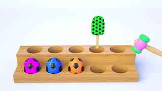 Learn Colors with Invisible Coffee Box and Cow for Kids   Colors with Animals and Soccer Balls