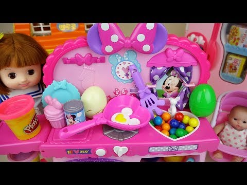 Ba doll and play doh surprise eggs kitchen cooking play