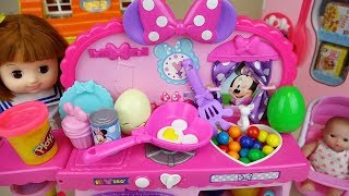 Baby doll and play doh surprise eggs kitchen cooking play